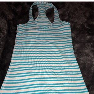 Lululemon Racerback Tank Top 4 Teal Stripe